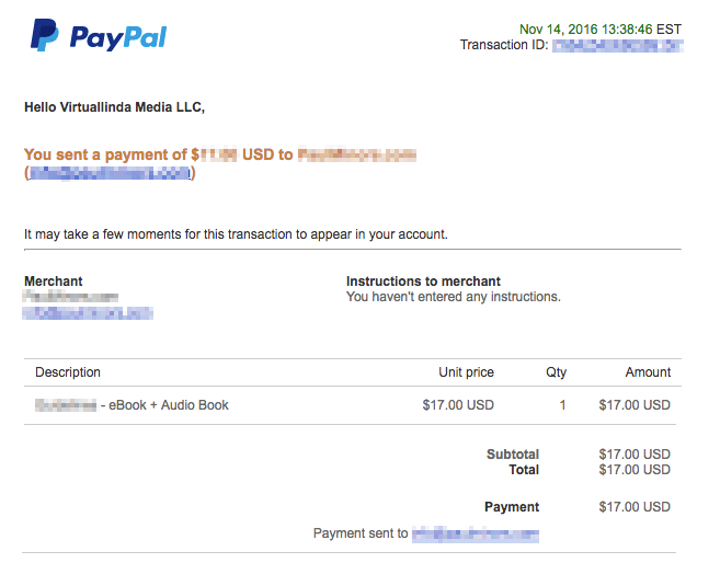 PayPal Payment reciept